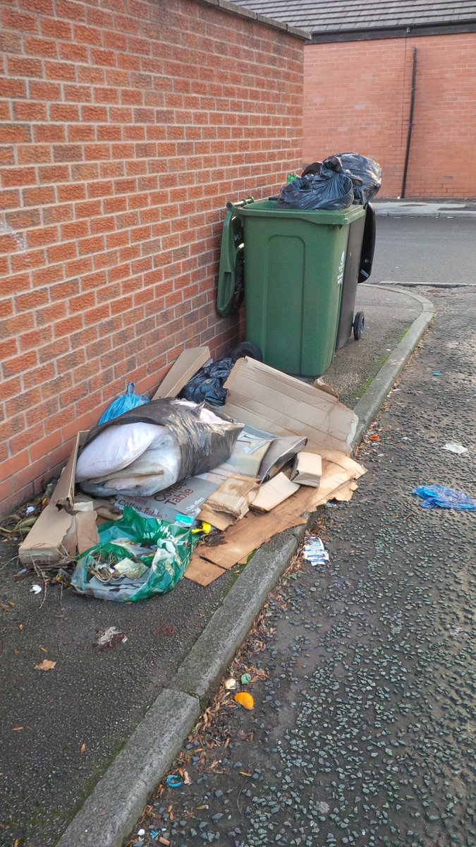 Dealing with contaminated bins & fly tipped items in Old Trafford. Evidence obtained #BeResponsible #LoveWereYouLive