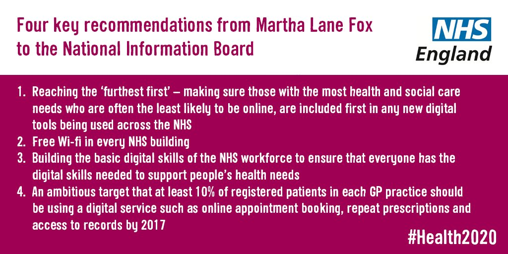 4 key recommendations from @MarthaLaneFox to the National Information Board @health_2020 #Health2020 https://t.co/1jt7V68hWa