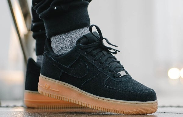nike air force black suede gum