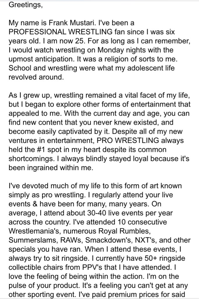 So I sent this email to @WWE today about the state of their product...  (PART 1) https://t.co/LCPtBk4rMt