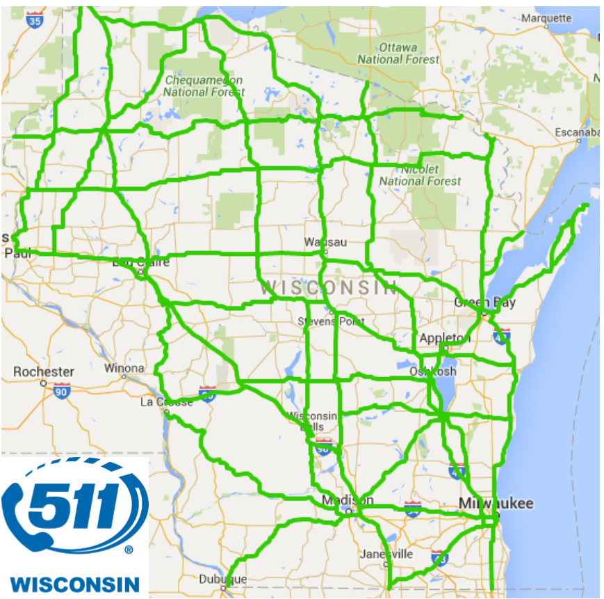Wisconsin Dot On Twitter Today S 511wi Map Shows Green Good