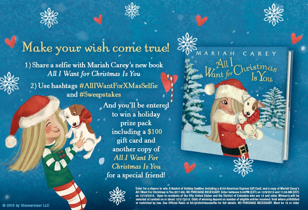 Enter to win @MariahCarey's new picture book ALL I WANT FOR CHRISTMAS IS YOU! #AllIWantforXMasSelfie #Sweepstakes https://t.co/o1pR3VfC2P