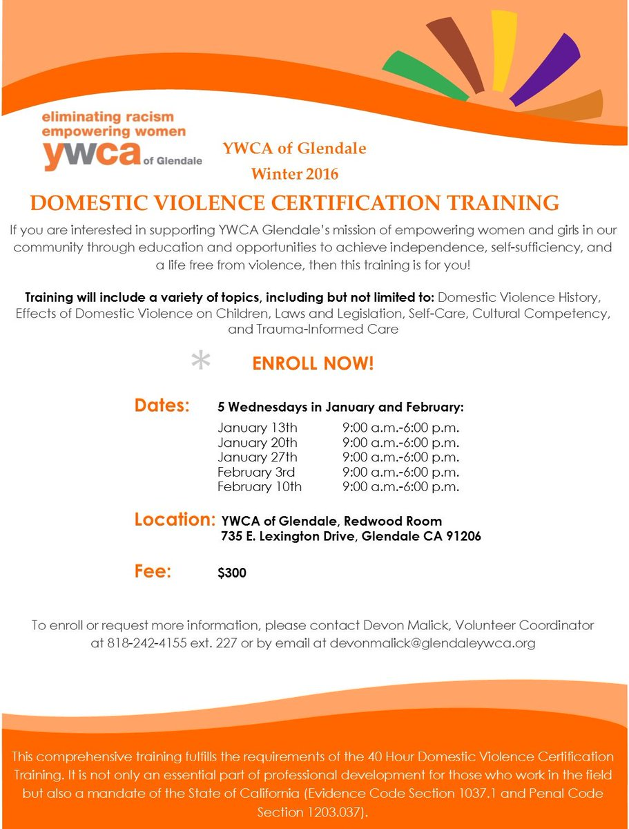 Ywca Glendale On Twitter Join Us For Our 40 Hr Domestic Violence