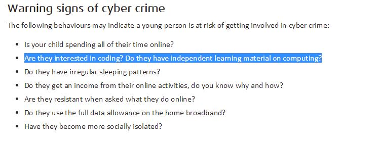 """interested in coding?...independent learning material"" is *not* #CyberCrime sign  https://t.co/0x2gWA9UEG @NCA_UK https://t.co/LGXiNcLLxO"