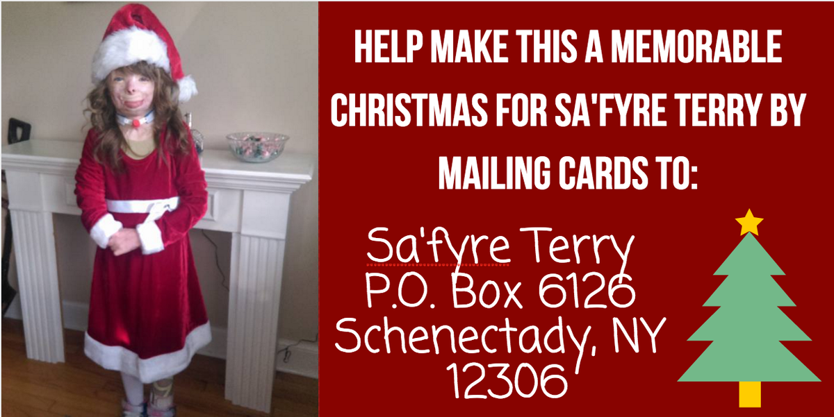 How to send a christmas card to sa\'fyre terry, girl who survived ...