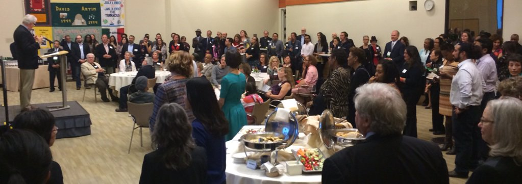 around 150 @ Holiday gathering of @CommunityPrtnrs = org that fosters creative solutions 2 community challenges https://t.co/asxyHqaPhE