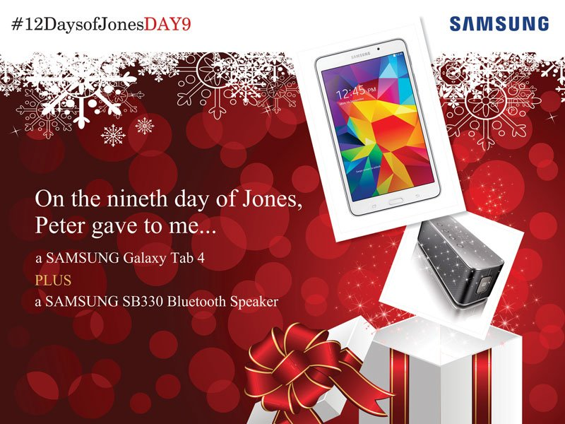 You have until 7pm to win these presents. Follow @SamsungUK & Tweet me with #12DaysOfJones & #12DaysOfJonesDAY9 https://t.co/mIA1vgalWZ