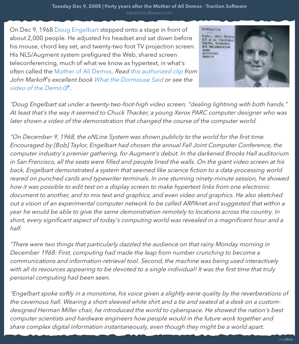 On this day: Forty seven years after Doug Engelbart's Mother of All Demos https://t.co/VyRJiZ64tO https://t.co/7oWG1aDmI8