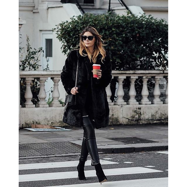 Tyra Banks Japan: Babein' @ems_ejstyle Wearing Our Faux Fur Coat + All Black