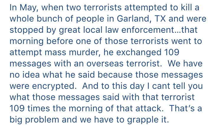 Wow. FBI Director Comey on encryption and shootings, in the Senate Judiciary hearing just now: https://t.co/tVfEDeRwmw