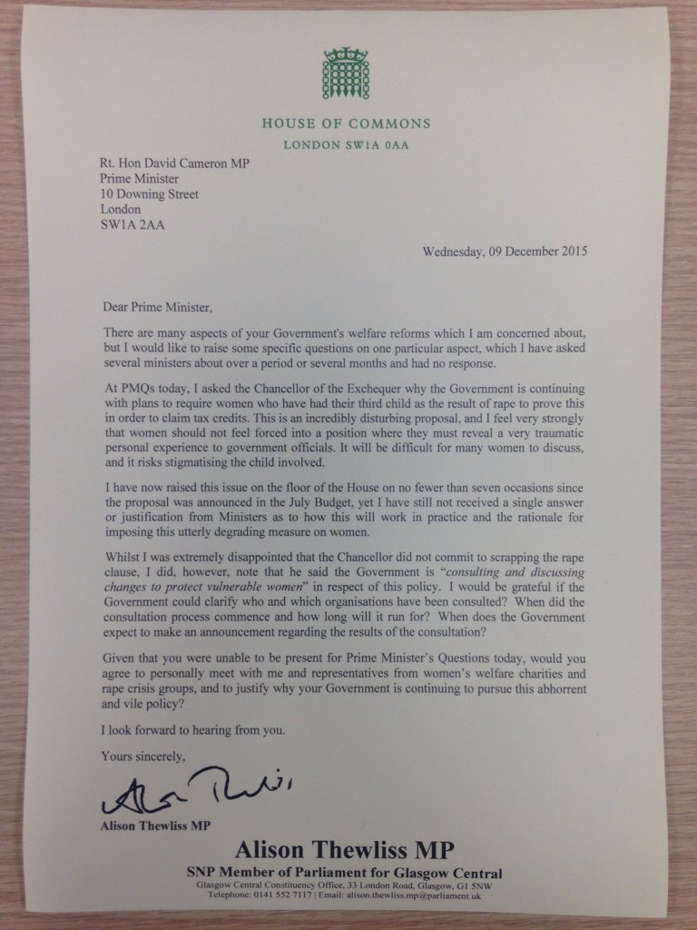.@theSNP's @alisonthewliss has written @David_Cameron to challenge UK's tax credit rape clause. #ScrapTheRapeClause https://t.co/lYXdHUFeXv