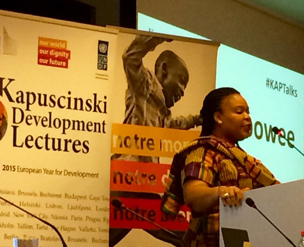 """Don't separate peace from politics and development. Women is part of the solution"". @LeymahRGbowee #KAPTalks https://t.co/9KAFrW1Zw6"