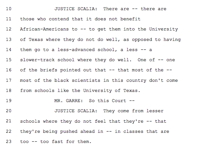 "From transcript, what Scalia said today on whether black people would be better served at ""less advanced"" schools https://t.co/ikYGnjqM5p"