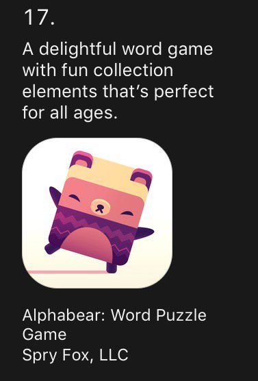 Apple have selected #alphabear as one of the games of the year, to go with our award from Google Play last weekend! https://t.co/yLfxuGn2It