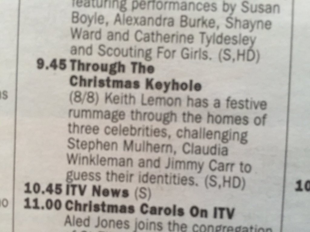 Just looking in the TV listings. Merry Christmas Eve from all at @ThroughKeyhole 9.45 @ITV https://t.co/T1xCMGPXZN
