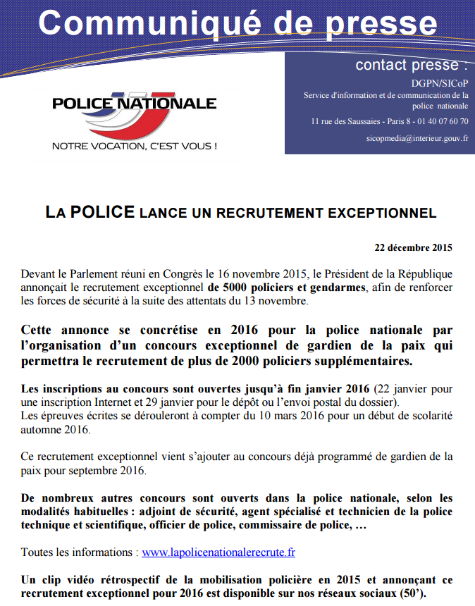Police nationale on twitter presse lapolicerecrute for Interieur gouv concours