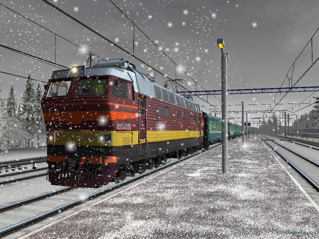 Новогодние открытки, открытка поездом