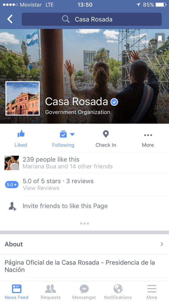 Ya estan habilitados los perfiles oficiales en FB y TW de @CasaRosada https://t.co/ADGHYOHfXj