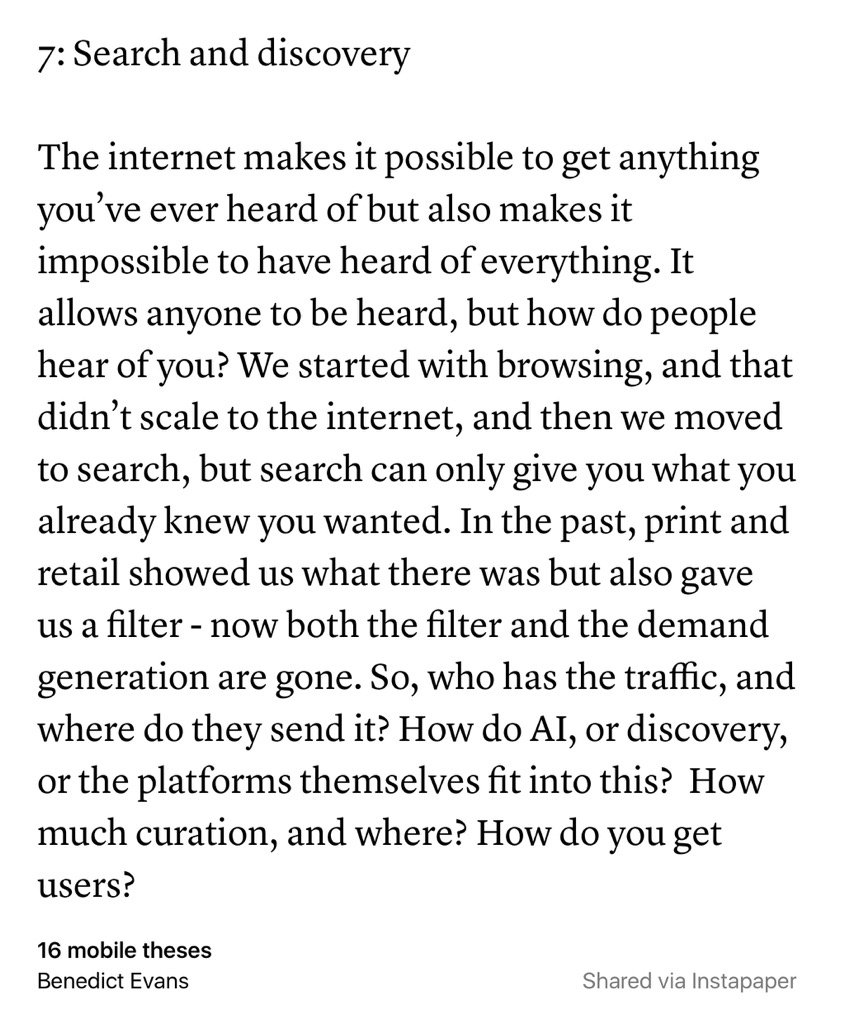 Nice set of thoughts & questions on mobile from @BenedictEvans, especially the questions https://t.co/yMpjy9ELIY https://t.co/rG9WQhe4Fn