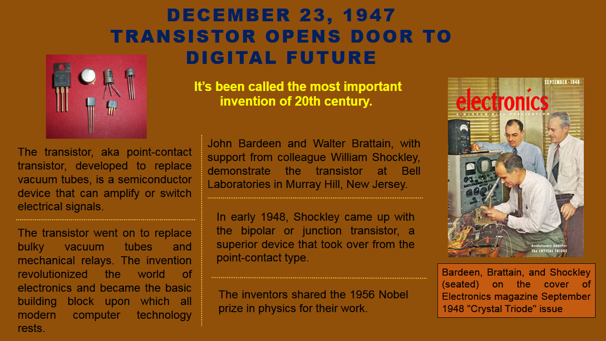 All India Radio On Twitter Onthisday In 1947 The Most Important Transistor A Century Of Electronics Invention 20th Was Born Https Tco 9cjmhbw7zz