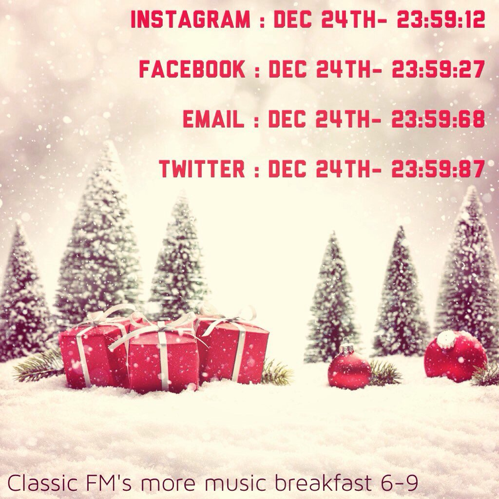 Last posting times for social media this Christmas.  Don't miss them. https://t.co/oyrJnzEcAt
