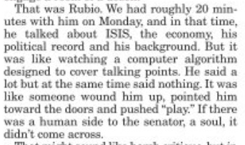 """Rubio's visit to the Conway Daily Sun did not go well: """"like a computer algorithm designed to cover talking points."""" https://t.co/9e1Mqq1QcD"""