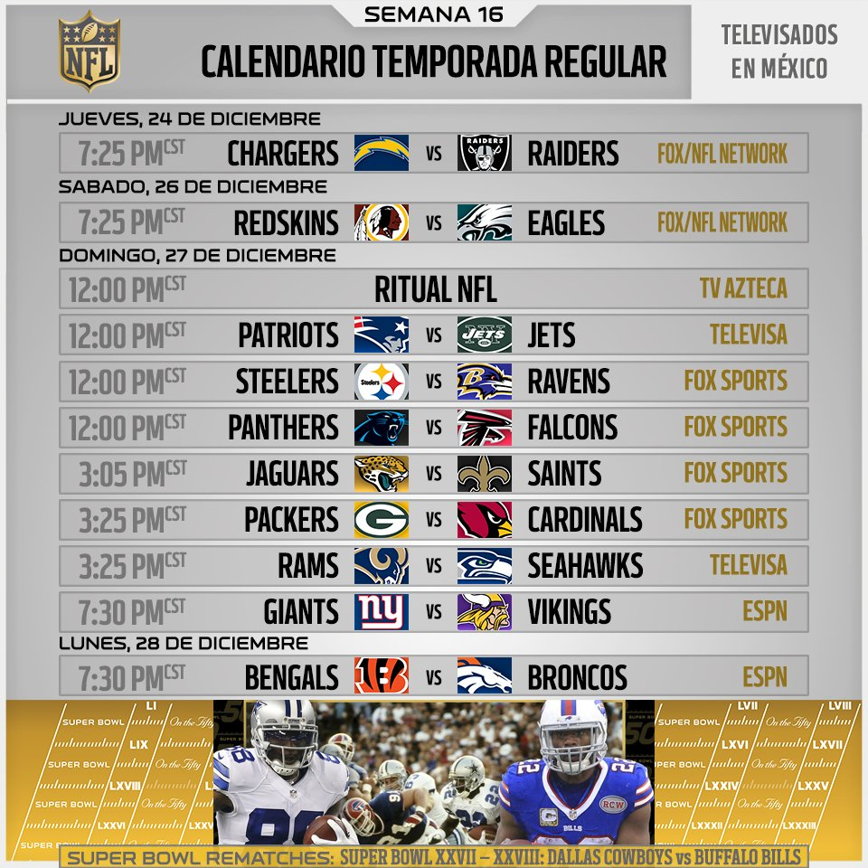 Nfl Mexico On Twitter Calendarionfl Semana 16 Televisoras