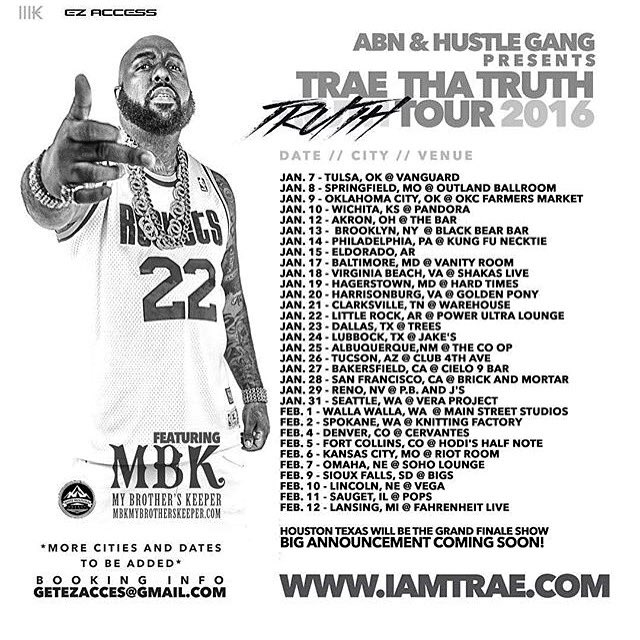 Tha Truth is coming @TRAEABN 2016 tour https://t.co/hfckNRbZrh