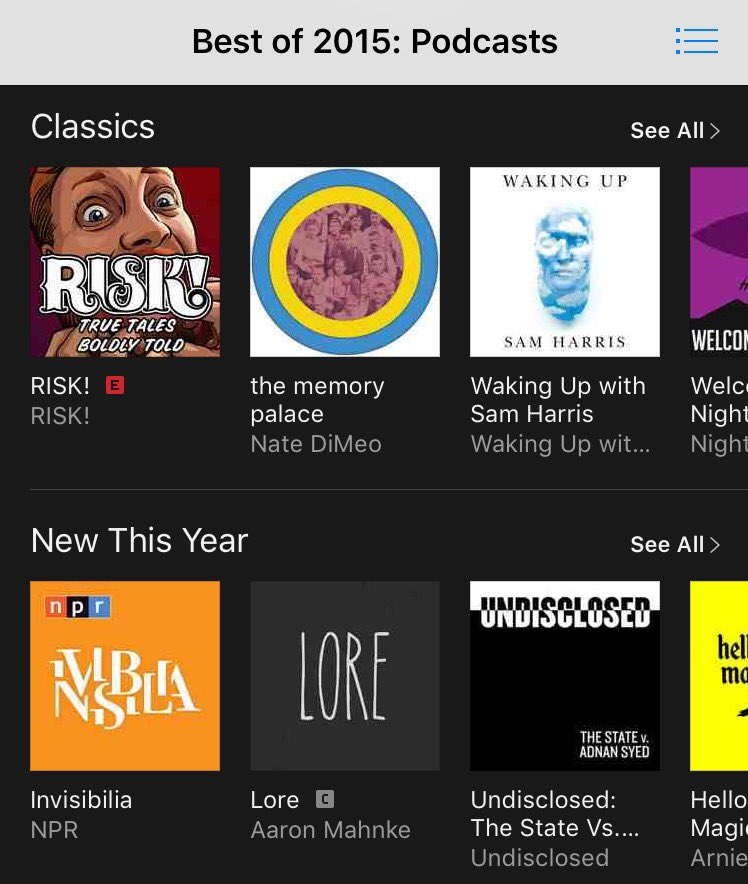 Such an honor! @iTunesPodcasts chose @RISKshow for its BEST OF 2015. So exciting! #iTunes2015 https://t.co/7cj2qB3XUt