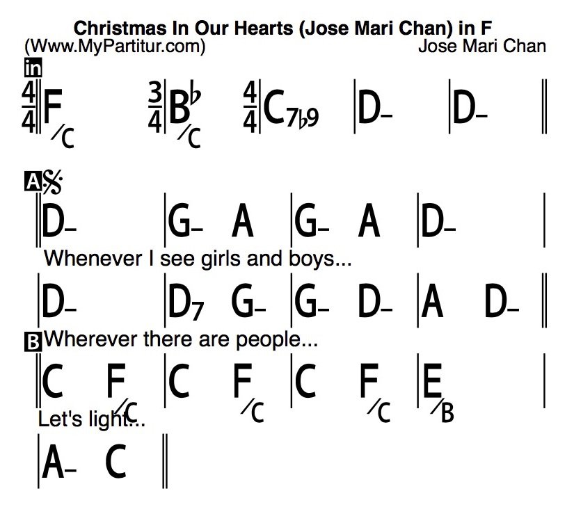 mypartiturcom on twitter christmas in our hearts chords in f lyrics idweo jose mari chan httpstcoivwycat5jf httpstcoogmads7nya - Christmas In Our Hearts Lyrics