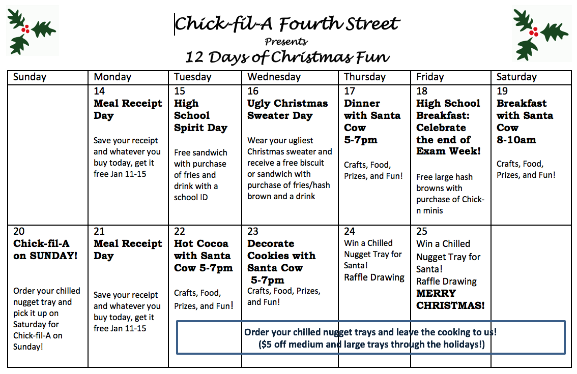 chick fil a st pete on twitter join us for 12 days of christmas starting monday nehi sphs httpstcorro7ktcndb