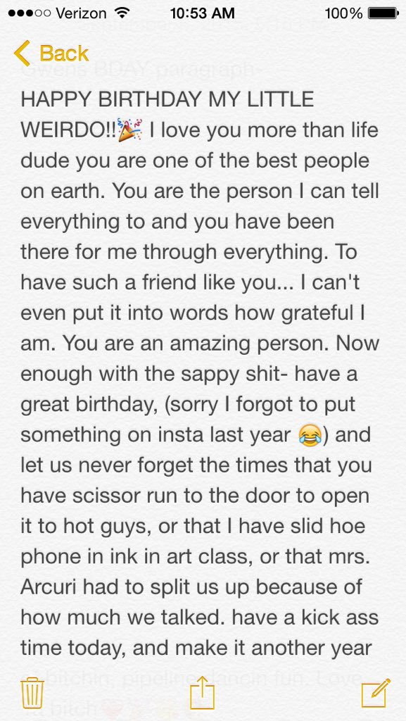 sarah on twitter ahhh happy birthday gwen4764 i hope you have the best bday ever enjoy your paragraph i love you httpstcohhgywjnx38