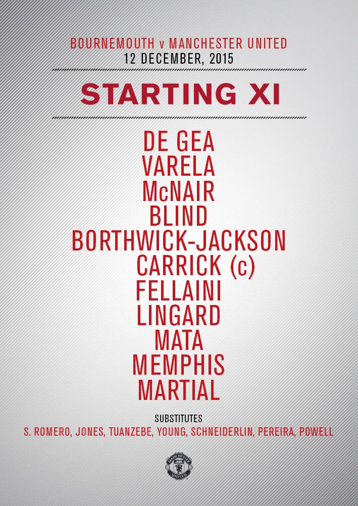 #mufc XI: De Gea; Varela, McNair, Blind, Borthwick-Jackson; Carrick, Fellaini; Lingard, Mata, Memphis; Martial.