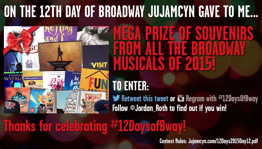 On the 12th day of #12DaysOfBway... Retweet to enter to win mega prize of souvenirs from all 2015 Broadway musicals! https://t.co/IoWGvMxbPA