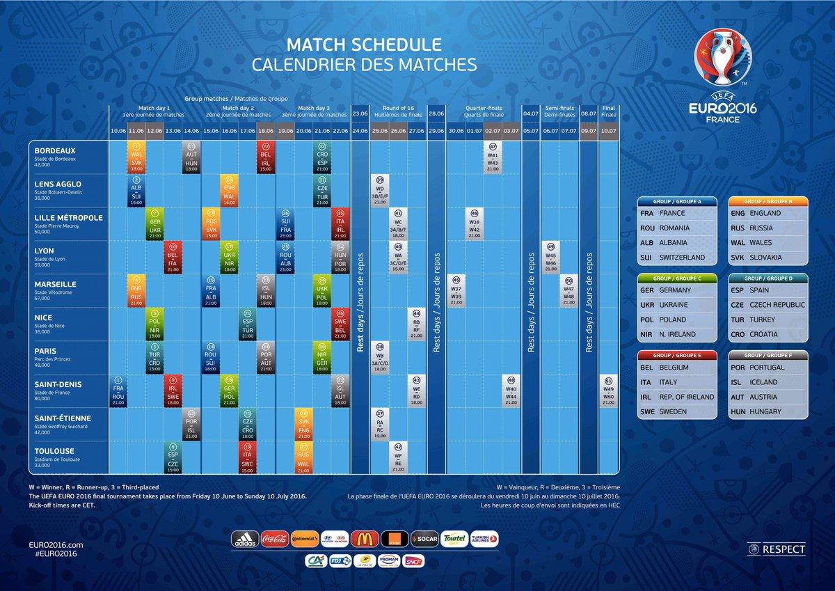 Le Calendrier Euro 2020.Uefa Euro 2020 On Twitter Le Calendrier Officiel De L