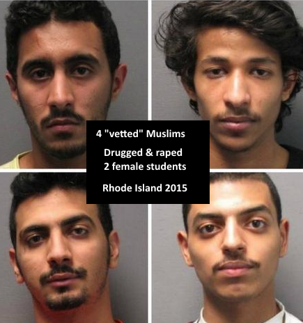 """Rhode Island: Four Muslim """"students"""" charged with drugging, sexually assaulting women https://t.co/5Ot4vxYOFK #sgp https://t.co/eqKJOP5hHA"""