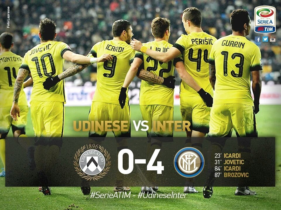 Udinese-Inter 0-4, stupendo gol di Brozovic (Video)