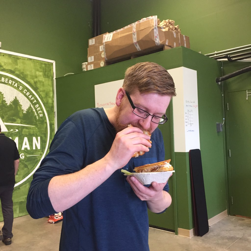Matt is loving the @CheddaHeads buffalo chicken melt at the @blindmanbrewery grand opening! https://t.co/z2Lzi8hBBF
