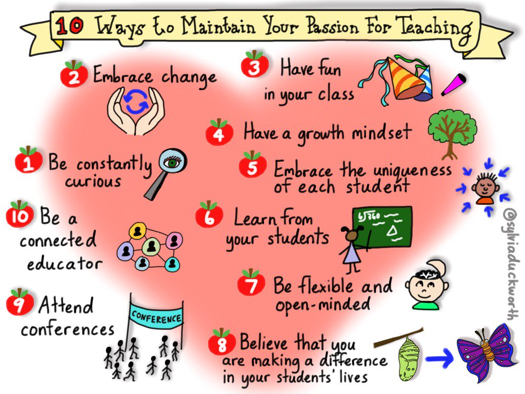 10 Ways to Maintain Your Passion for #Teaching - @sylviaduckworth https://t.co/u7yMjHngVV