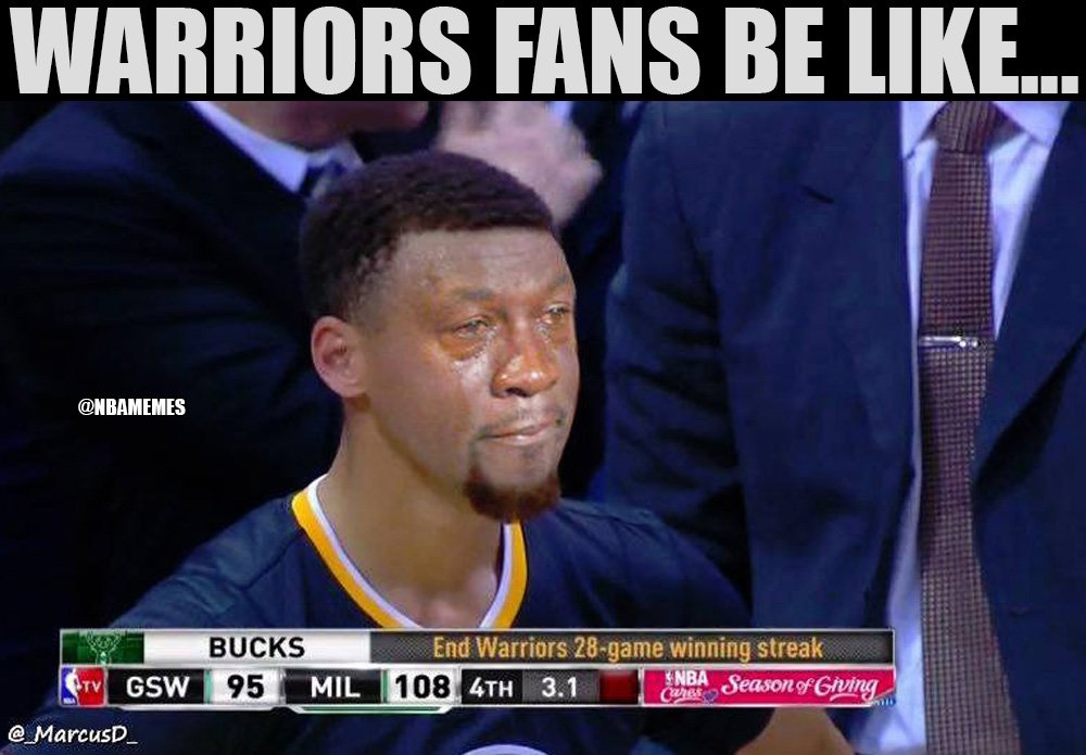 Nba Memes On Twitter The Bucks End The Warriors 24 1 Streak