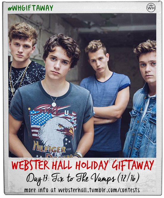 #WHGIFTAWAY Day 13: Tix to @TheVampsband on 12/16. Follow + RT to enter <3 https://t.co/Ha2AIcrbyX https://t.co/XKuOzIZsXF