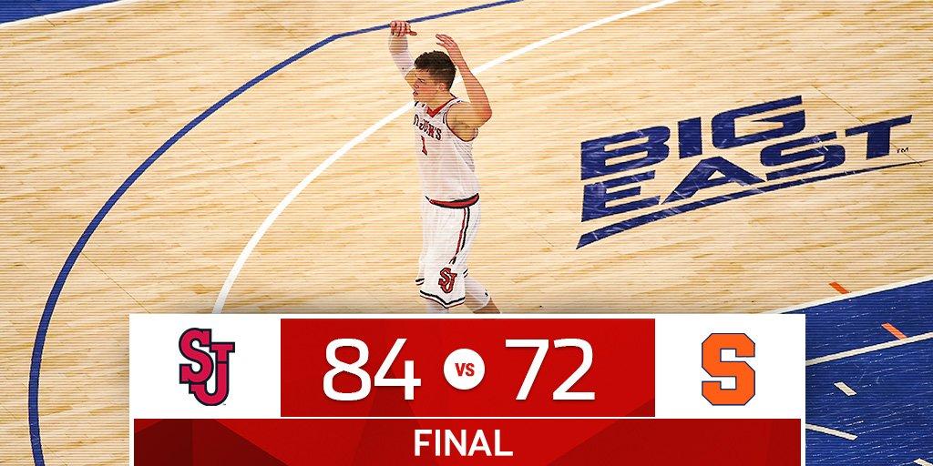 Final score - St. John's 84, Syracuse 72 #WeAreNewYorksTeam #sjubb https://t.co/eWrUqeQAPS