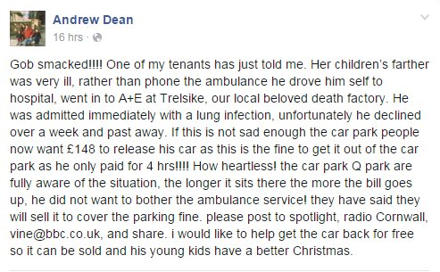 This is so disgusting, all that is wrong with Britain today  @QPark_UK wants £148 to release his car to his family. https://t.co/45pOYoq4hA""