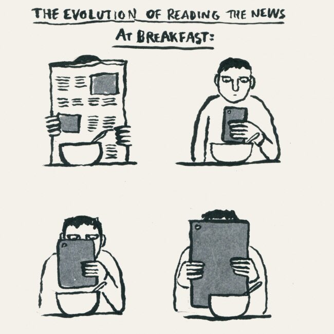 The evolution of reading the news at breakfast... https://t.co/0uTrpwykMW