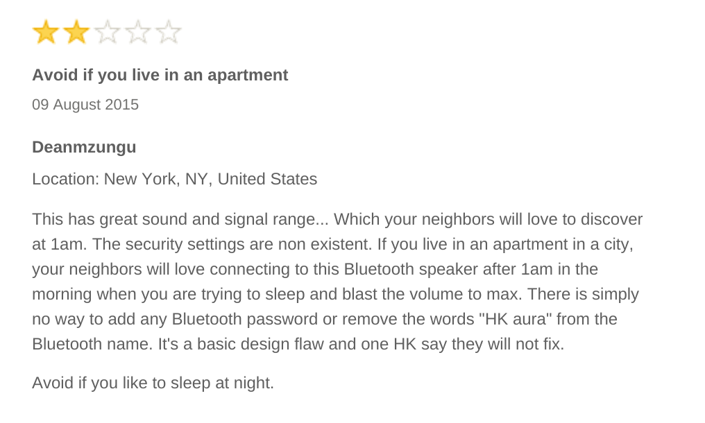 Priceless review of a bluetooth speaker: https://t.co/qZNX8HahYs