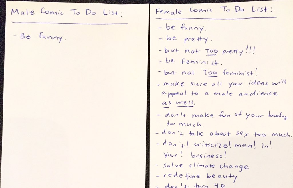 This To-Do List Nails The Sexist Double Standard Women Face In Comedy