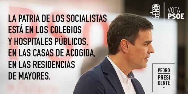 """""""@PSOE: La patria de los socialistas es la igualdad. @sanchezcastejon #CARAaCARA2015 #PedroPresidente https://t.co/z7KktaOU3I"""""""