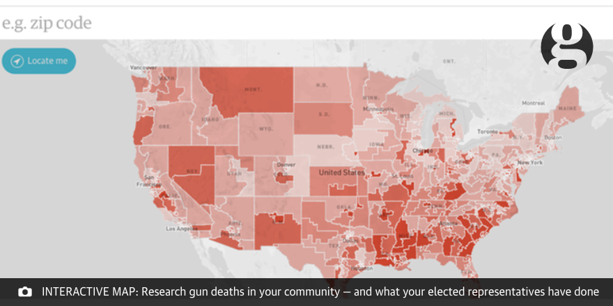 The Guardian on Twitter Interactive Map search US gun deaths and