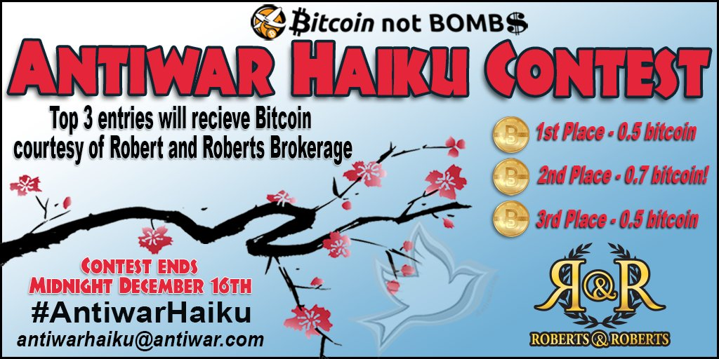 You must email your #antiwarhaiku's to antiwarhaiku@antiwar.com to enter. Contest is over Wed at midnight 10 GMT. https://t.co/7e4o41Orjz