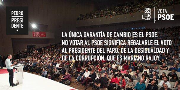 La única garantía de cambio es @sanchezcastejon y el @PSOE. El #20D #VotaPSOE #CARAaCARA2015 #PedroPresidente https://t.co/GkBwsTBeS2